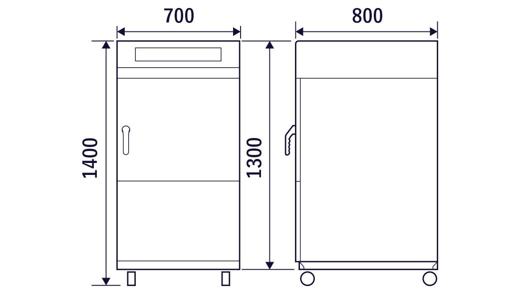 真空マイクロ波解凍機VMD-502D/Nの外形図